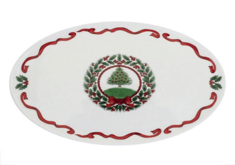 Halcyon Days Vintage Christmas Tree Candy Plate in White