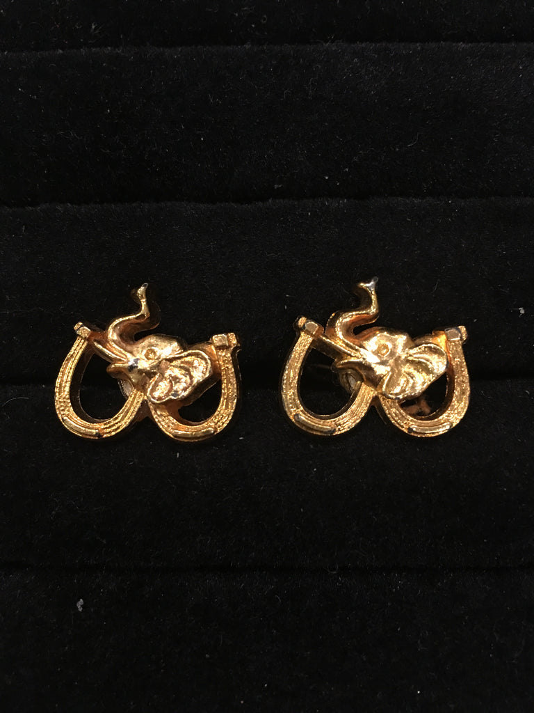Elephant Horseshoe Cufflinks-Cufflinks-Sterling-and-Burke