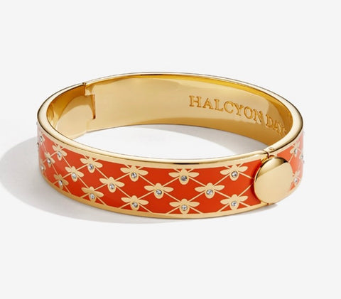 Halcyon Days 13mm Bee Sparkle Trellis Hinged Enamel Bangle in Orange and Gold-Jewelry-Sterling-and-Burke