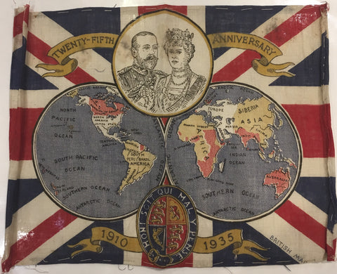 British Made, Antique George V 25 Year Anniversary Flag, 1935, 12 by 8.5 Inches-Vintage Flag-Sterling-and-Burke