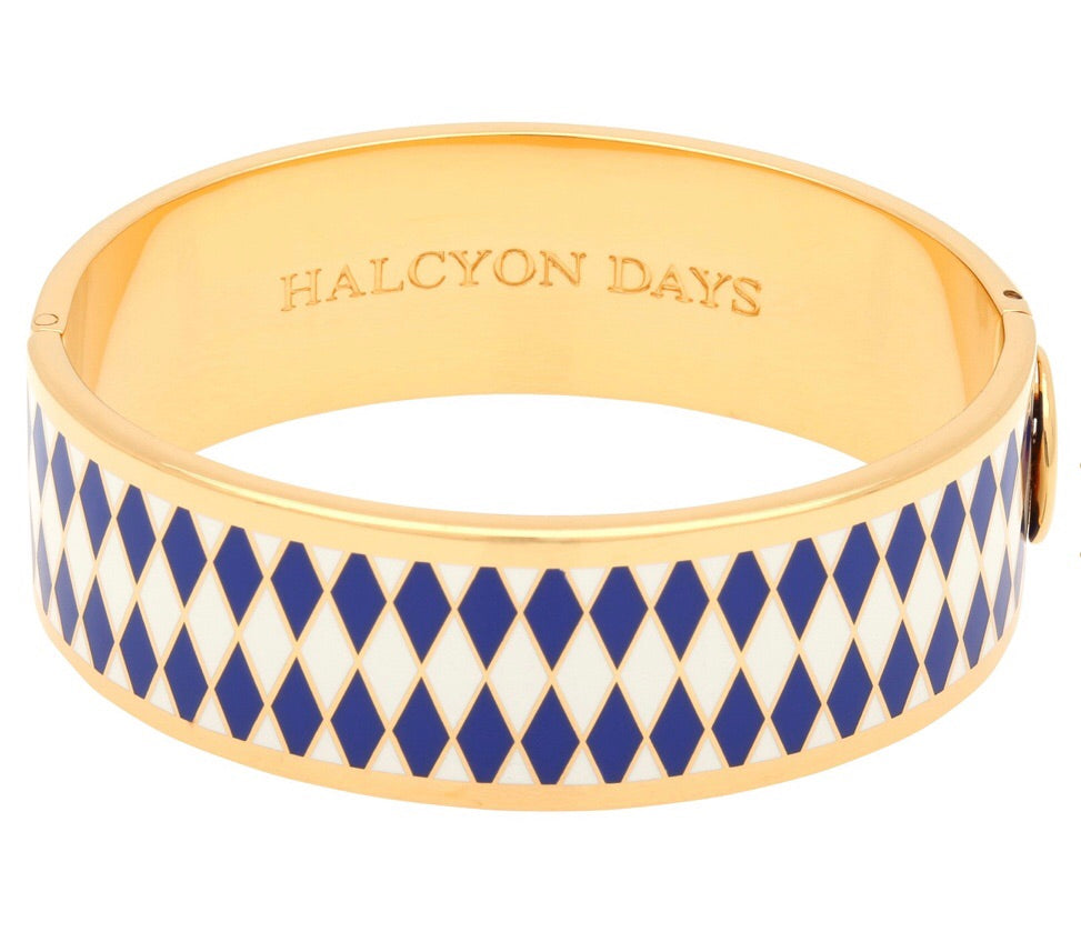 Halcyon Days 19mm Parterre Hinged Enamel Bangle in Deep Cobalt, Cream, and Gold-Jewelry-Sterling-and-Burke