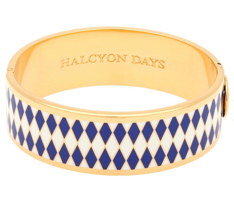 Halcyon Days 19mm Parterre Hinged Enamel Bangle in Deep Cobalt, Cream, and Gold