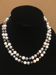 "Fresh Water Pearl Necklace, Grey, White, Ivory 34""-Necklace-Sterling-and-Burke"