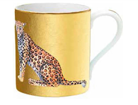Halcyon Days Magnifcent Wildlife Leopard Mug in Gold-Bone China-Sterling-and-Burke