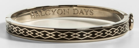 Halcyon Days 6mm Skinny Parterre Chain Enamel Bangle in Black and Palladium