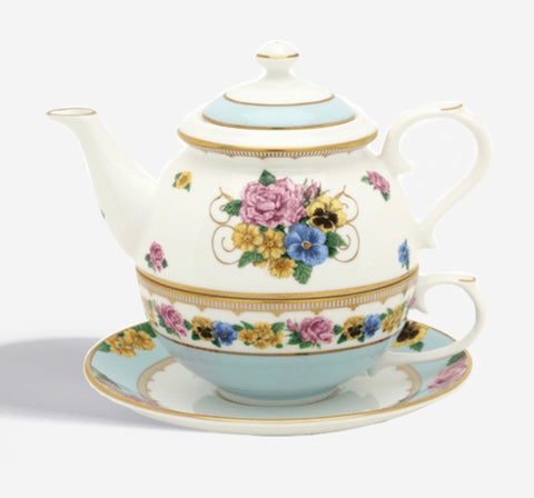 Halcyon Days Shell Garden Tea for One in White-Bone China-Sterling-and-Burke