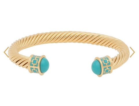 Halcyon Days Maya Open Twist Wire Bracelet in Turquoise and Gold-Jewelry-Sterling-and-Burke