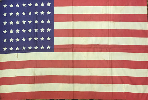 American Flag | 48 Star Antique Vintage US Flag | Silk | 35 by 24 Inches | No.0