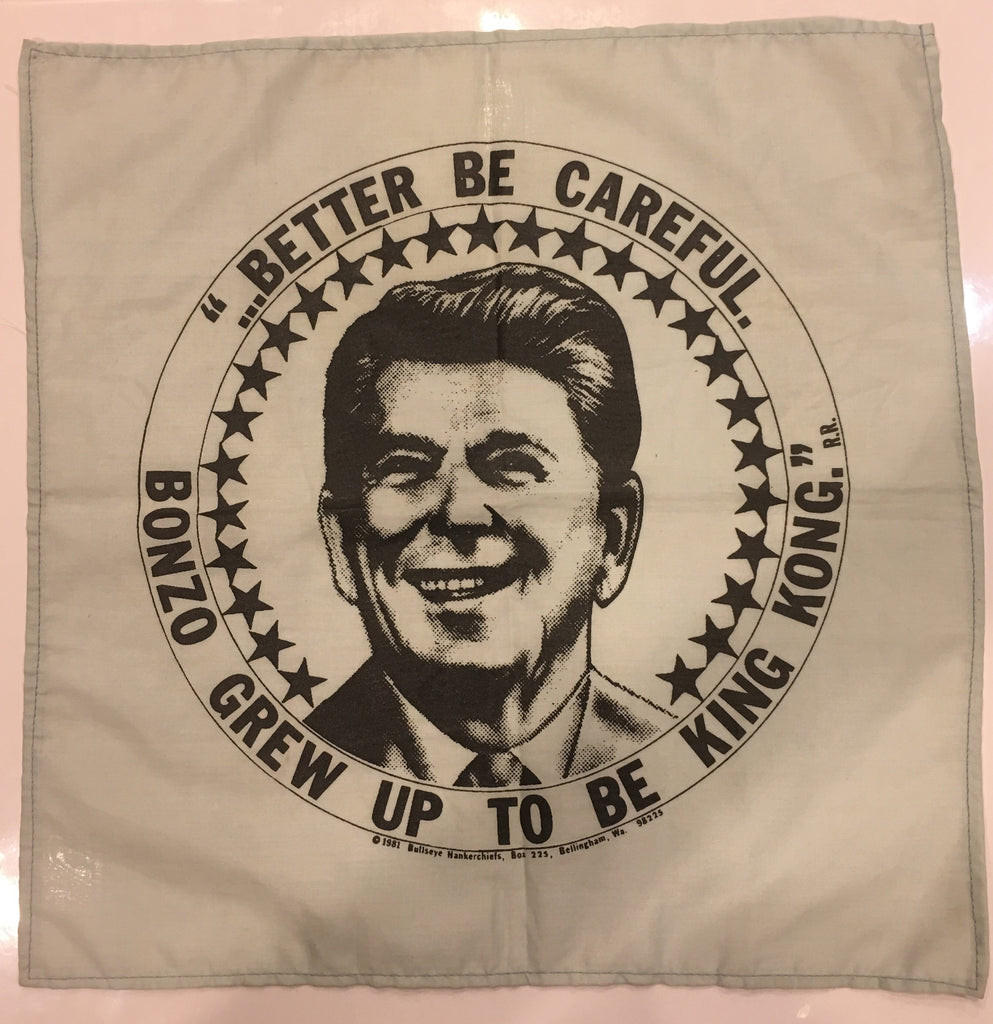 "Ronald Reagan | Vintage Patriotic Handkerchief | ...Better Be Careful. Bonzo Grew Up To Be King Kong | President Reagan | USA Flag Bandana | 13.5"" x 13.5""-Vintage Handkerchief-Sterling-and-Burke"