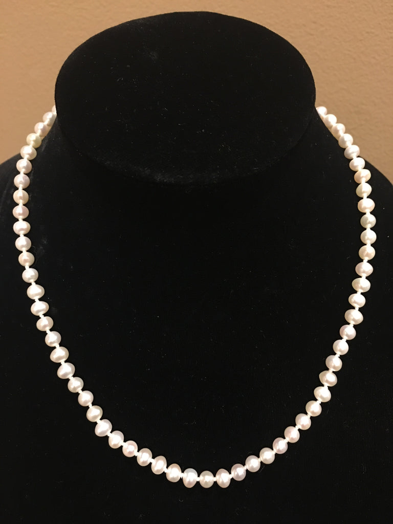 "Natural Fresh Water Pearls | Necklace | Hand knotted | 4mm | 18"" Length 
