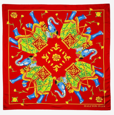 Halcyon Days Elephant Array Silk  Scarf in Deep Red, 36 by 36 Inches