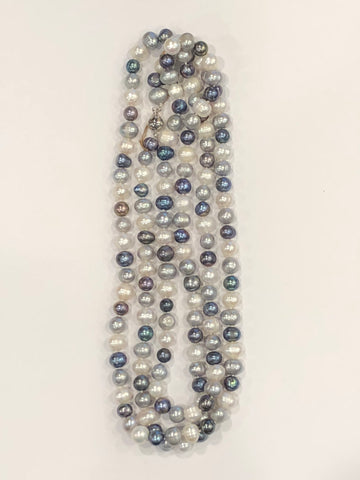 "Pearl Necklace | Fresh Water Pearls | Single Strand | Hand Knotted Pearls | 38"" Necklace 