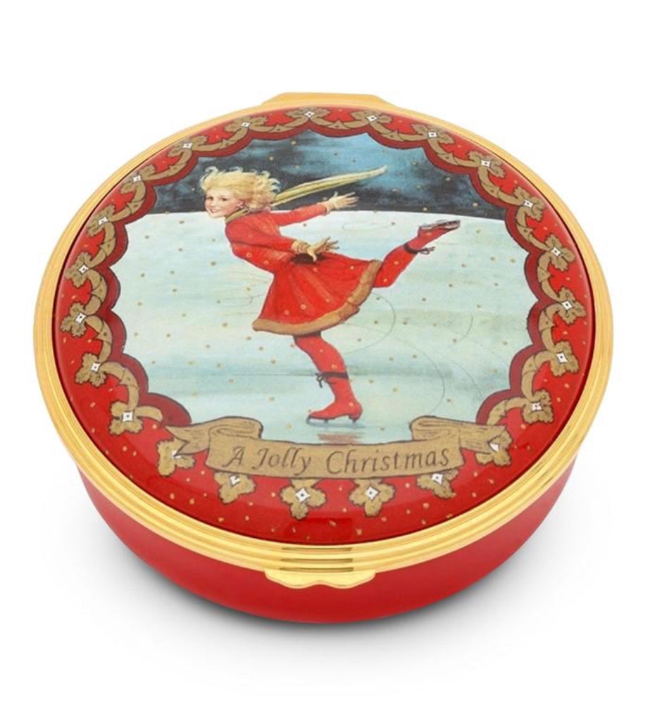 Halcyon Days Christmas Ice Skating Enamel Box-Enamel Box-Sterling-and-Burke