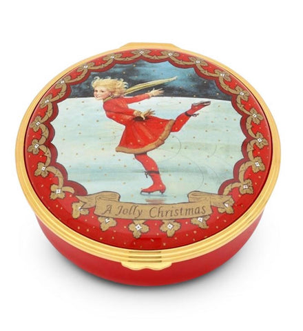 Halcyon Days Christmas Ice Skating Enamel Box