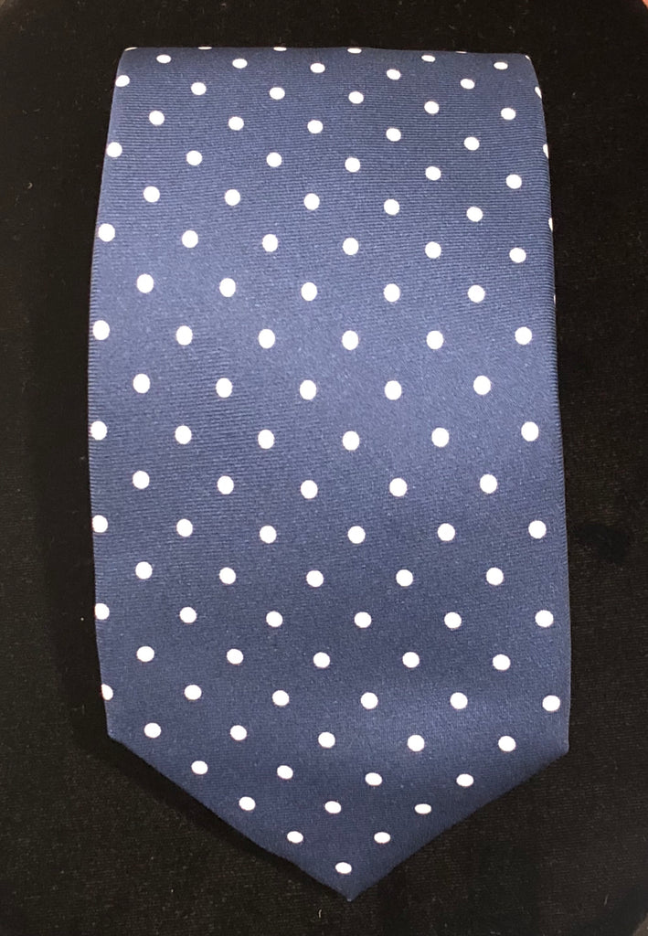 Medium Spot Seven Fold Neck Tie | Blue and White Silk | Made in England by Budd Shirts-Necktie-Sterling-and-Burke