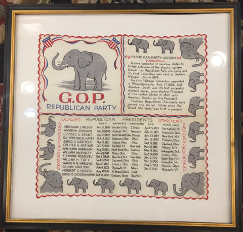 Vintage Republican Framed Political Art | GOP Flag Handkerchief Art | 1950's | 20 by 20 Inches Framed