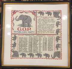 "Vintage Republican Framed Political Art | GOP Flag Handkerchief Art | 1950's | 20"" x 20"" Framed-Vintage Handkerchief-Sterling-and-Burke"