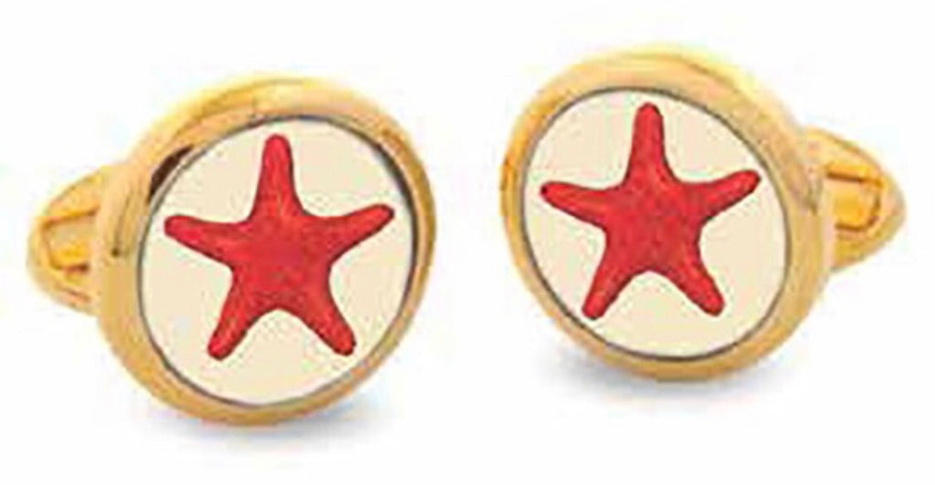 Halcyon Days Star Fish Cufflinks in Red and Gold-Enamel Cufflinks-Sterling-and-Burke