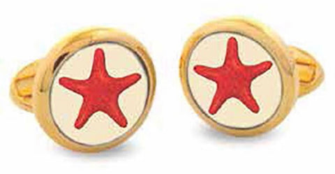 Halcyon Days Star Fish Cufflinks in Red and Gold