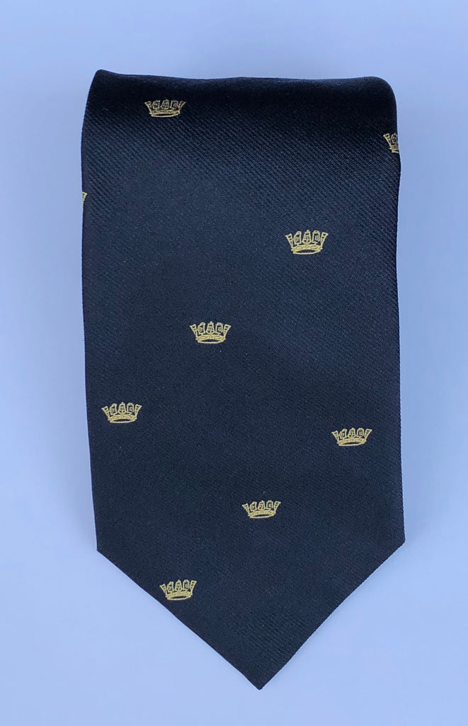 Chatham Silk Reppe Tie, Navy with Gold Crown | Silk Tie | Benson and Clegg | Made in England-Necktie-Sterling-and-Burke