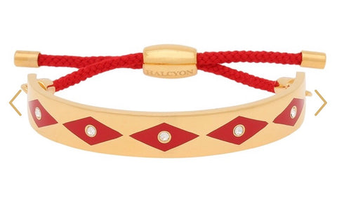 Enamel Bangle | 1cm Parterre Sparkle Friendship Bangle | Red and Gold | Halcyon Days | Made in England