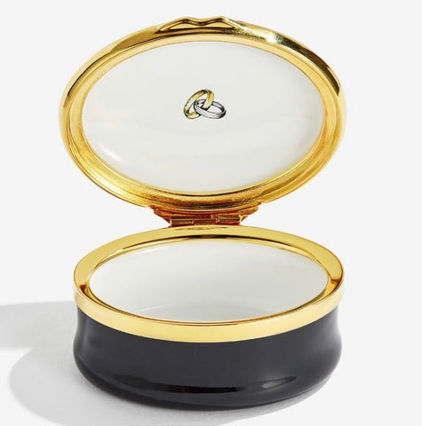 Halcyon Days Mr & Mrs Wedding Enamel Box in Black and White-Enamel Box-Sterling-and-Burke