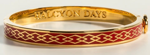 Halcyon Days 6mm Skinny Parterre Chain Enamel Bangle in Red and Gold-Jewelry-Sterling-and-Burke
