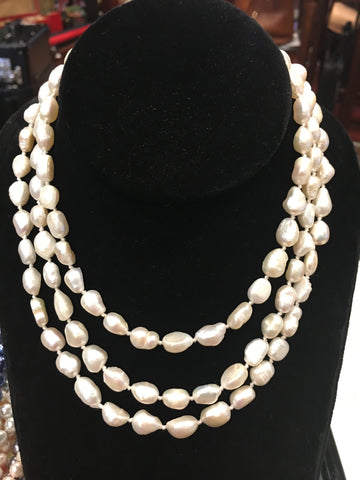 "Pearl Necklace | Fresh Water Pearls | Single Strand | Hand Knotted Pearls | 45"" Necklace 