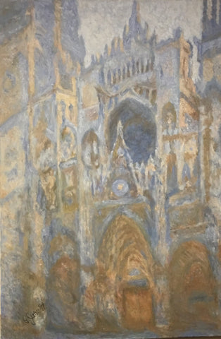 "Rouen Cathedral, West Facade | Claude Monet, 1894 by NGA Copyist Pamela Jarrett | 49"" x 36""-Oil Painting-Sterling-and-Burke"