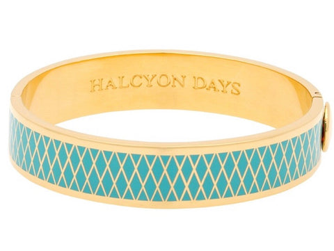 Enamel Bangle | 13mm Parterre Bangle | Turquoise and Gold | Halcyon Days | Made in England