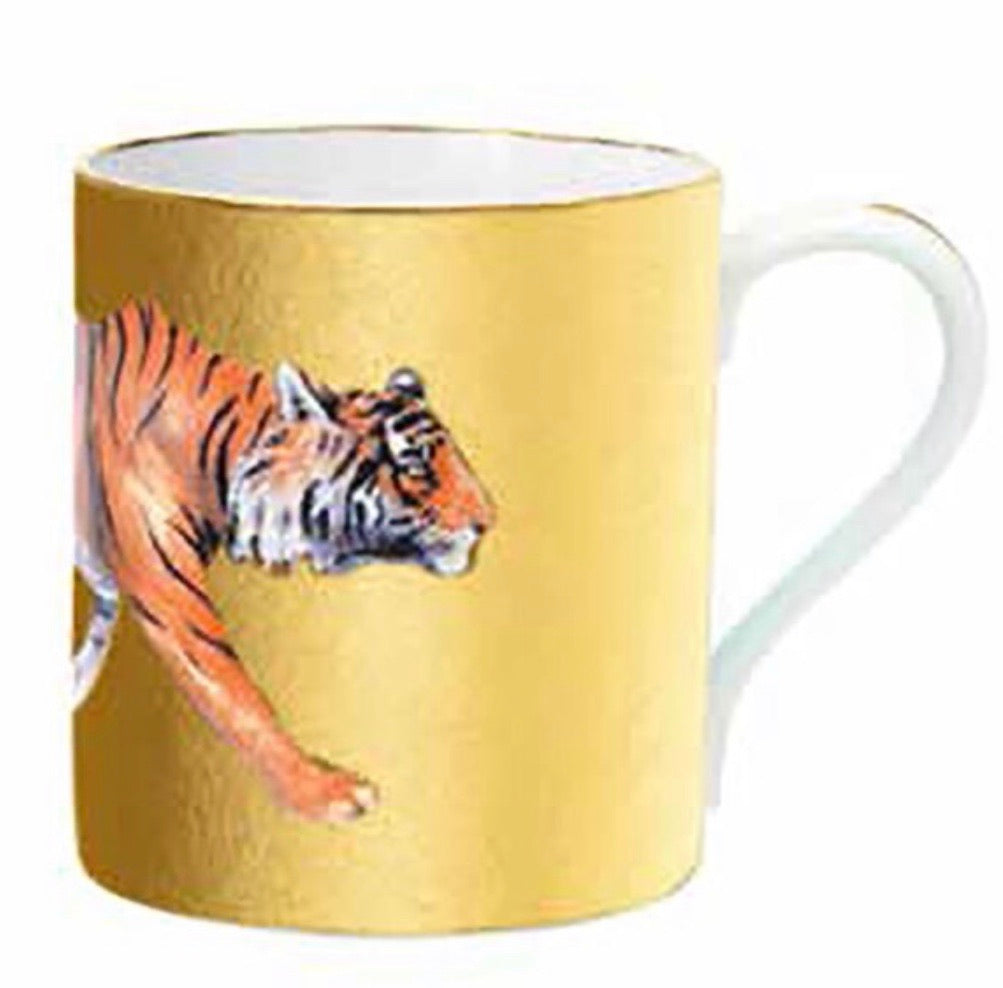 Halcyon Days Magnificent Wildlife Tiger Mug in Gold-Bone China-Sterling-and-Burke