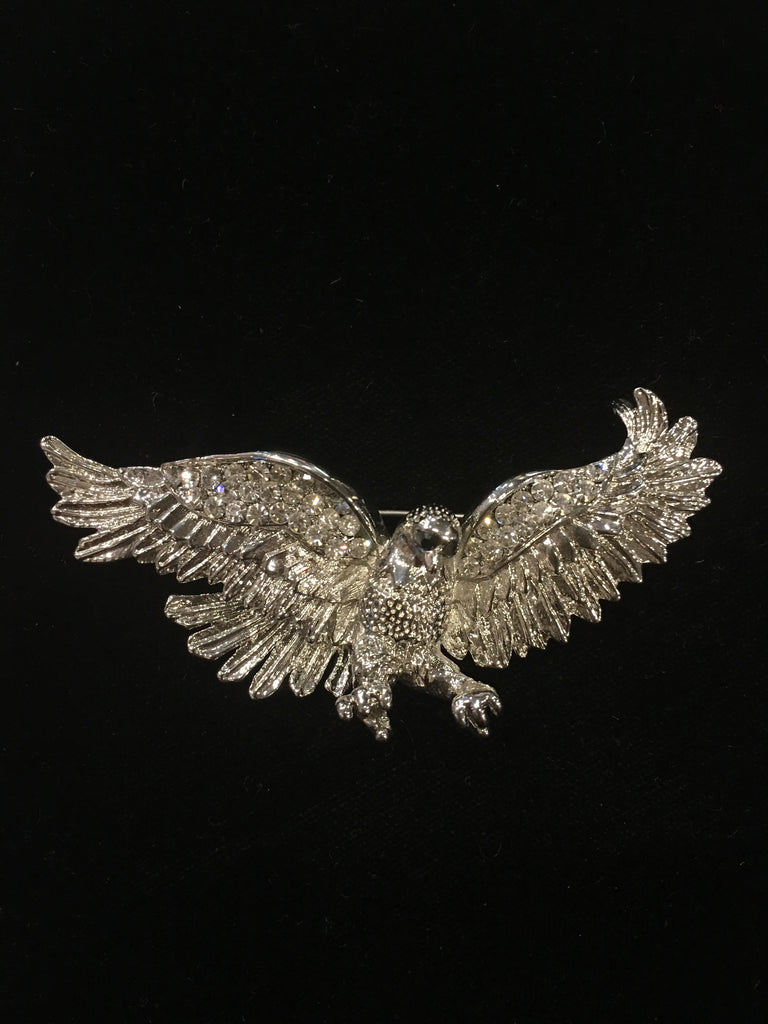 Flying Eagle Brooch 2 | Black and Clear Crystals with Silver Plate | Hand Made in America-Brooch-Sterling-and-Burke