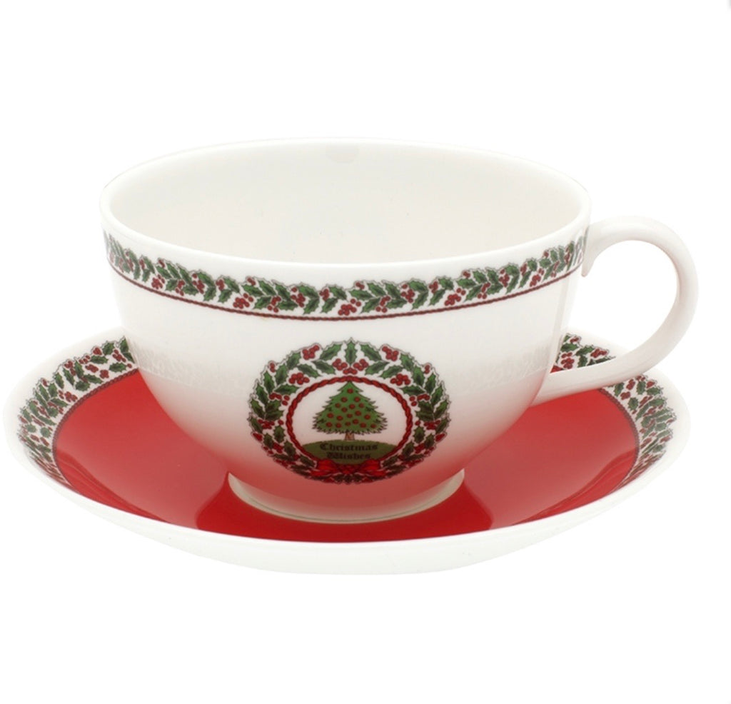 Halcyon Days Vintage Christmas Tree Breakfast Cup and Saucer-Bone China-Sterling-and-Burke