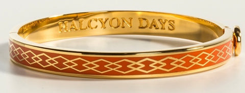 Halcyon Days 6mm Skinny Parterre Chain Enamel Bangle in Orange and Gold-Jewelry-Sterling-and-Burke
