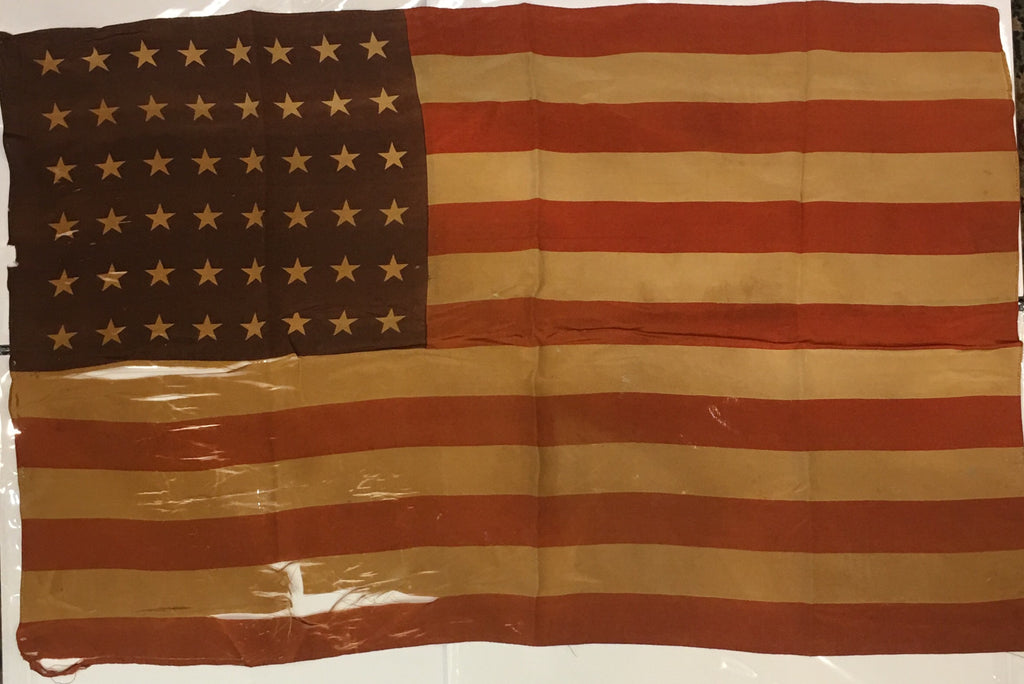 American Flag | 48 Star Antique Vintage US Flag | Silk | 22 by 34.5 Inches | No.4-Vintage Flag-Sterling-and-Burke