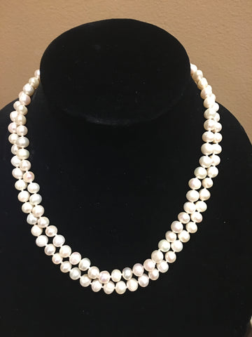 "Pearl Necklace | Fresh Water Pearls | Double Strand | Hand Knotted Pearls | 18"" Necklace 