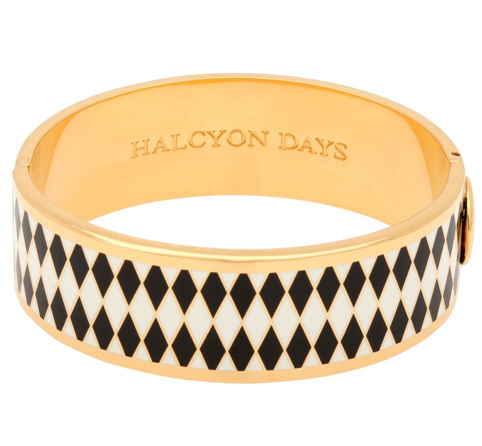 Enamel Bangle | 19mm Parterre Black, Cream, and Gold Bangle | Halcyon Days | Made in England-Bangle-Sterling-and-Burke