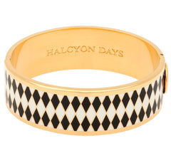 Halcyon Days 19mm Parterre Hinged Enamel Bangle in Black, Cream, and Gold-Jewelry-Sterling-and-Burke