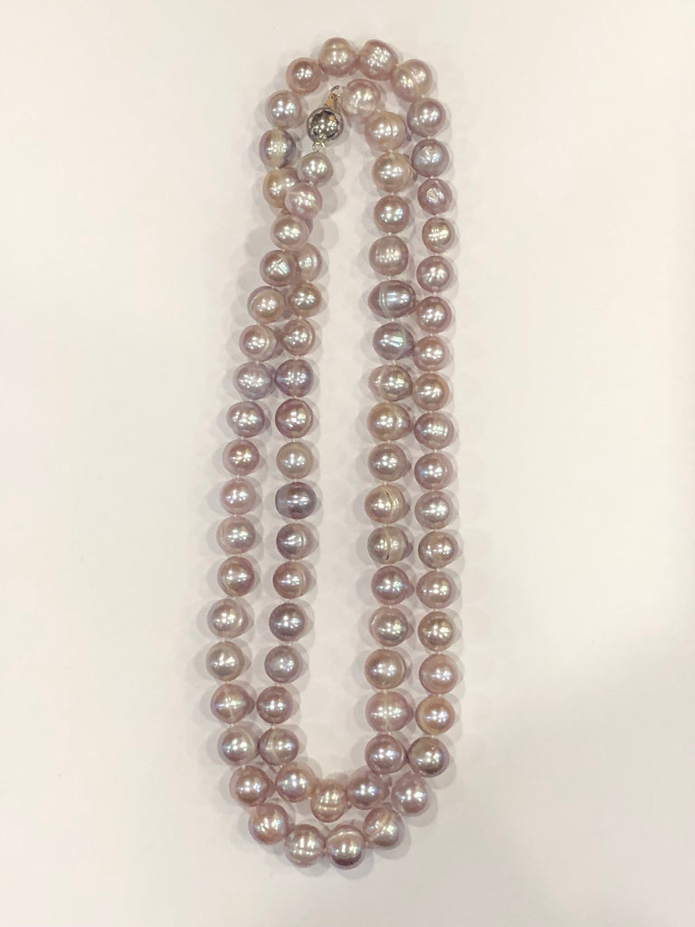 "Pearl Necklace | Fresh Water Pearls | Single Strand | Hand Knotted Pearls | 34"" Necklace 