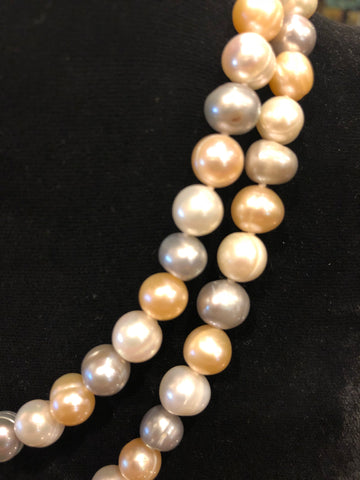 "Fresh Water Pearl Necklace, Multi Shades of Ivory, Grey, and Pink 34""-Necklace-Sterling-and-Burke"