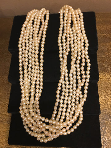"Pearl Necklace | 1940s Vintage Salt Water Pearls | Single Strand | Hand Knotted Pearls | 24"" Necklace 