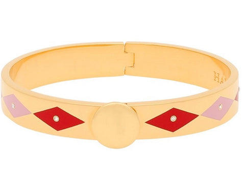 Enamel Bangle | 1cm Sparkle Pale Pink, Red, and Gold Bangle | Halcyon Days | Made in England-Bangle-Sterling-and-Burke