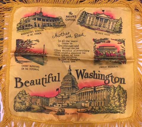 "Beautiful Washington | Mother and Dad | Vintage Pillow Cover | 22"" by 20"""