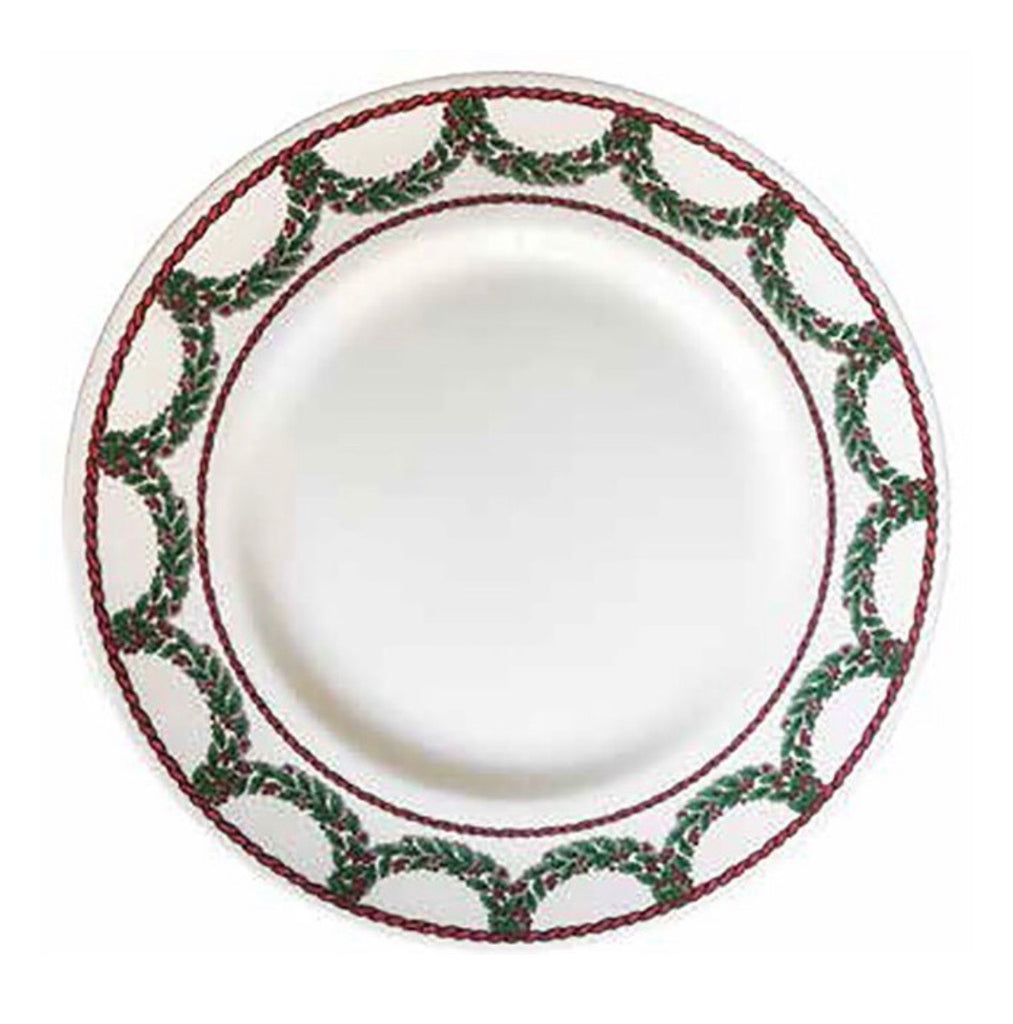 "Halcyon Days Vintage Christmas Garland 13"" Charger Plate-Bone China-Sterling-and-Burke"