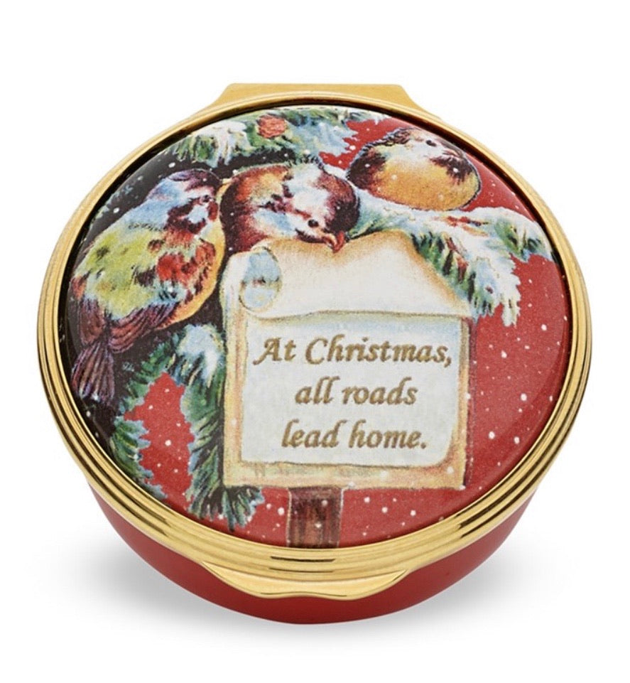 Halcyon Days At Christmas All Roads Lead Home Enamel Box-Enamel Box-Sterling-and-Burke