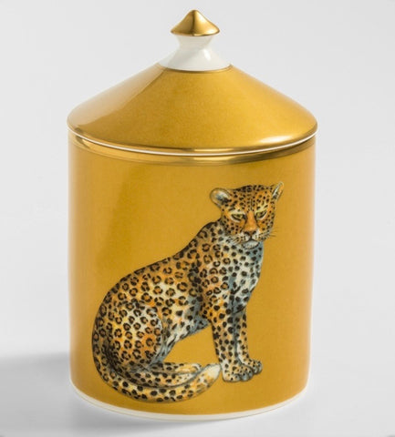 Halcyon Days Magnificnt Wildlife Leopard Jasmine Lidded Candle in Gold