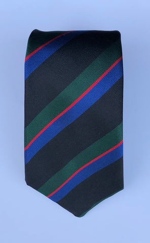 Multi-Color Stripe, Black, Green, Blue, and Red | Silk Tie | Benson and Clegg | Made in England