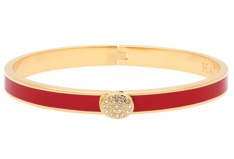 Enamel Bangle | 6mm Skinny Pave Button Hinged Bangle | Red and Gold | Halcyon Days | Made in England-Bangle-Sterling-and-Burke