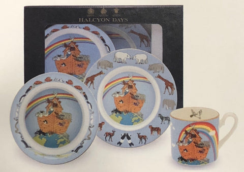 "Fine English Bone China | Baby 3-Piece Set | ""Noah's Ark"" Collection 