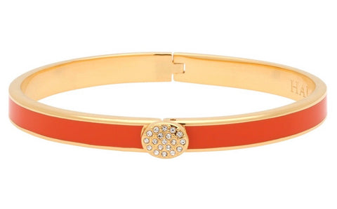 Enamel Bangle | 6mm Skinny Pave Button Orange and Gold Bangle | Halcyon Days | Made in England-Bangle-Sterling-and-Burke